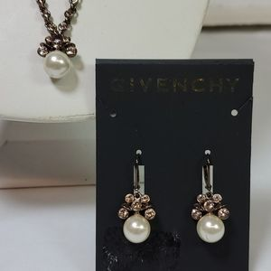 GIVENCHY NECKLACE AND EARRING SET BRONZE W/ PEARLS